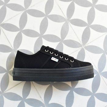 Plataforma Victoria 9201 Negro. 9201_amorshoes-victoria-blucher-plataforma-barcelona-chica-lona-negra-negro-09201