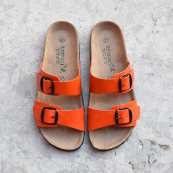 7112_AmorShoes-Auntenti-by-Penta-sandalia-bio-chancla-de-piel-doble-tira-color-naranja-con-hebilla-7112
