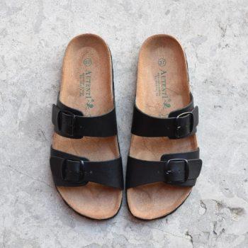 7112_AmorShoes-Auntenti-by-Penta-sandalia-bio-chancla-de-piel-doble-tira-color-negro-con-hebilla-7112