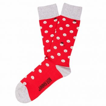 amorshoes-jimmy-lion-calcetin-snow-heads-muñeco-nieve-rojo