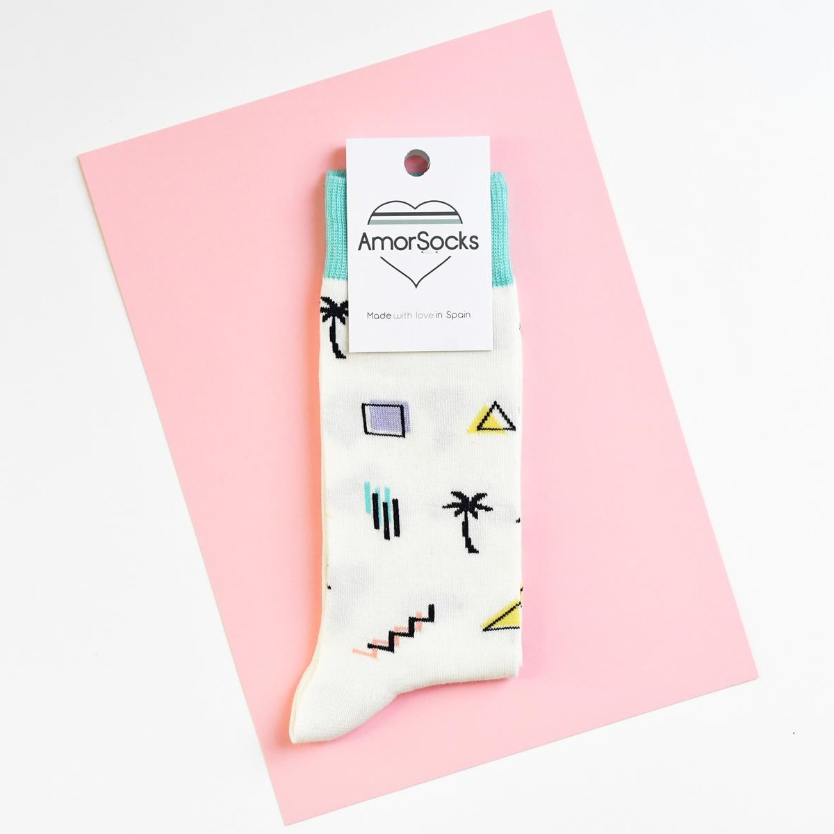 amorshoes-amorsocks-calcetines-socks-miami-palm-crema-verde-agua-palmeras-90s-geometricos-palm-beach