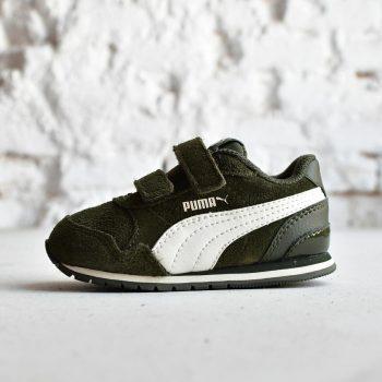 366002-02_AmorShoes-Puma-ST-Runner-SD-V2-Inf-verde-bosque-Forest-Night-Whisper-White-logo-blanco-zapatilla-velcro-niño-piel-vuelta-ante-366002-02