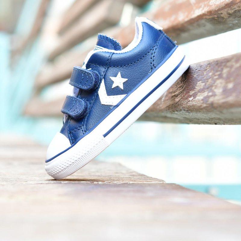 6359a120b5a Converse Star Player All Star Azul Marino Piel Pequeñ s