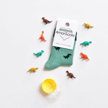 AmorShoes_amorsocks-calcetines-socks-dinos-dinosaurios-trex-tiranoraurio-verde-green-niños-niñas-kids