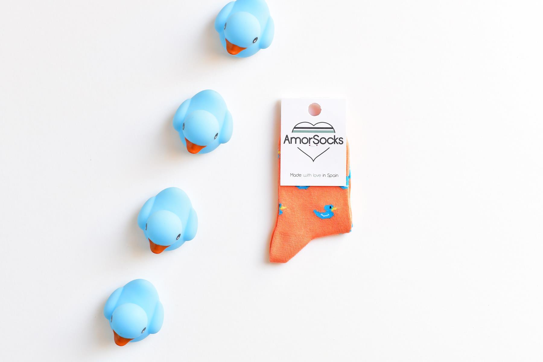 AmorSocks-calcetines-socks-niños-niñas-patos-kids-patitos-de-goma-ducks-rubber-ducks-coral-azul-blue