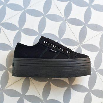 Plataforma Doble Victoria 105101 Negra AmorShoes_105101-doble-platadorma-victoria-blucher-barcelona-lona-negra-monocromo-105101