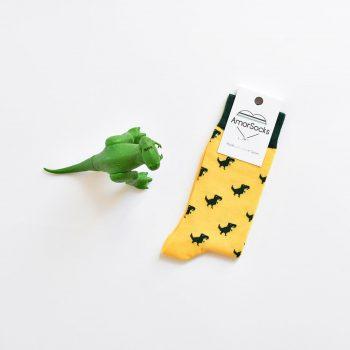 amorsocks-calcetines-socks-dinos-dinosaurios-trex-tiranoraurio-amarillo-yellow