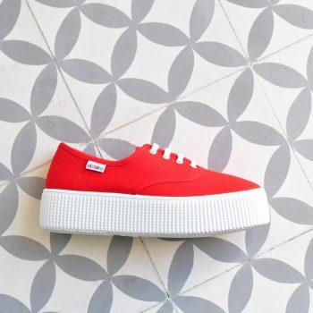 Inglesa Doble Victoria 116100 Roja AmorShoes_116110-zapatilla-victoria-doble-suela-1915-platadorma-victoria-lona-rojo-red-piso-blanco-116110