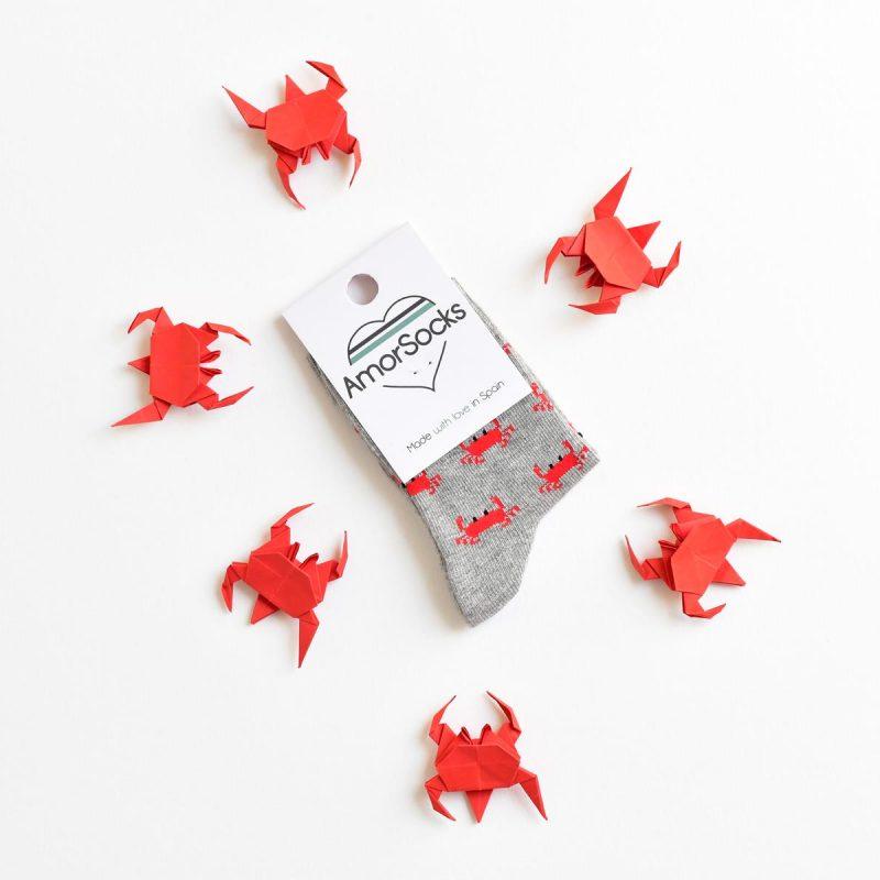 AmorSocks-calcetines-socks-cangrejos-kids-cangrejo-marisco-grab-gris-grey-gray-niños-niñas