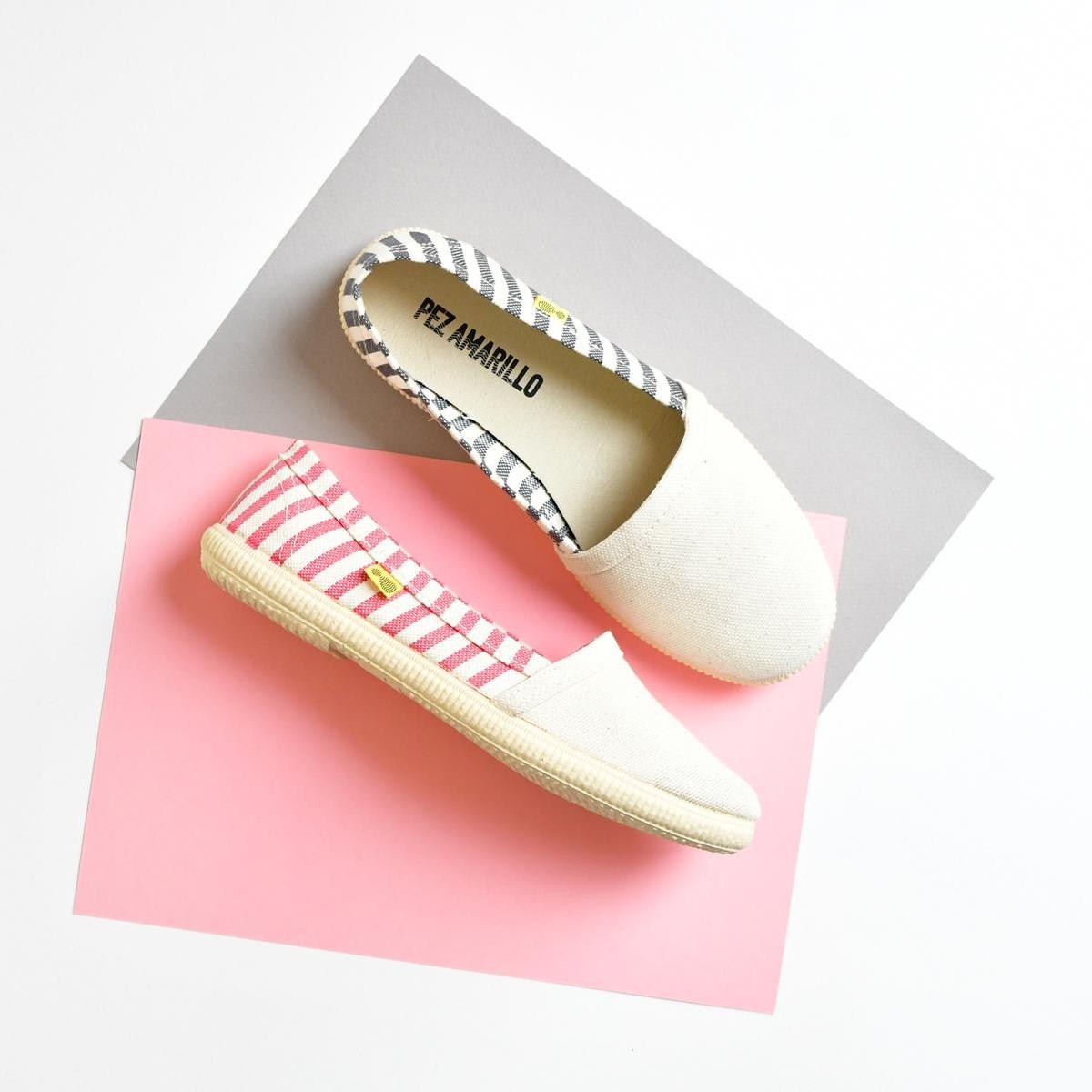 AmorShoes_Pez-Amarillo-camping-bamba-alpargata-suela-de-caucho-made-in-spain-mediterranean-hecho-en-españa-algodon-100%-rayas-stripes-rosa-gris-aguamarina-home