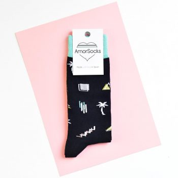 amorsocks-calcetines-socks-miami-palm-black-negro-verde-agua-palmeras-90s-geometricos-palm-beach