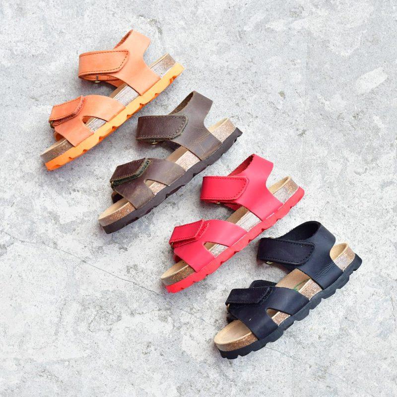 8b7ecaba9f Sandalia Bio Niñ@s Tiras Velcro Piel Premium Naranja | AmorShoes