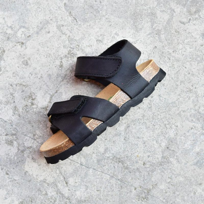 42a5ee5fc5 Sandalia Bio Niñ@s Tiras Velcro Piel Premium Negra | AmorShoes