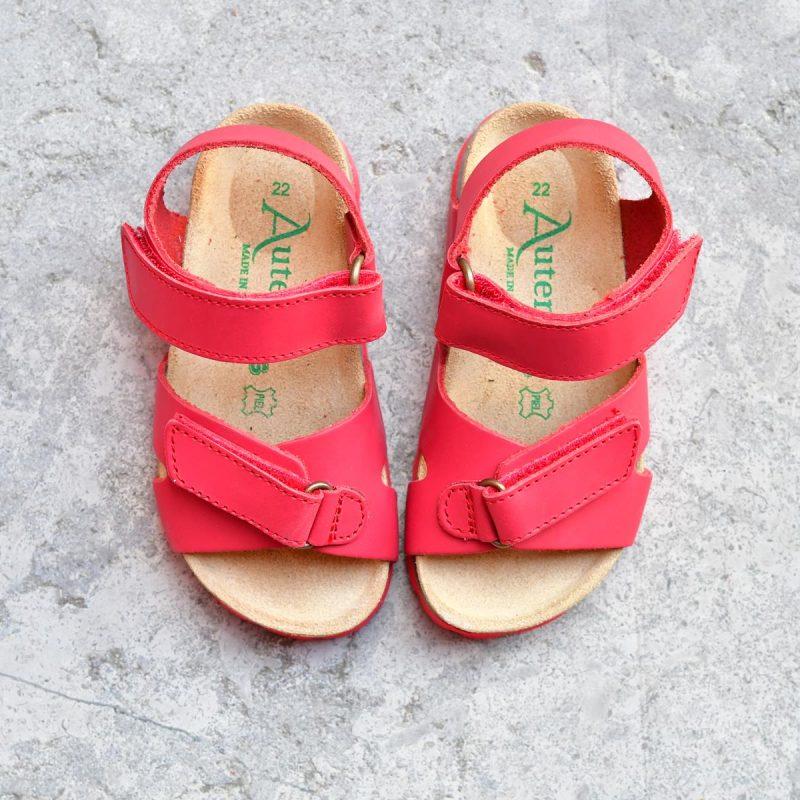 c34354db64 Sandalia Bio Niñ@s Tiras Velcro Piel Premium Roja | AmorShoes