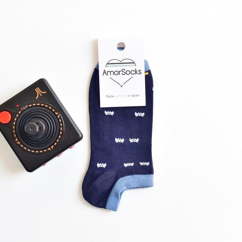AmorSocks-calcetines-socks-tobillero-invisible-marcianitos-arcade-azul-marino-blanco-verde