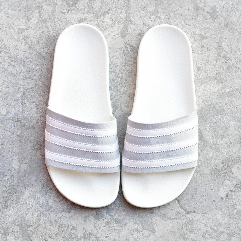 De Blancas Adidas Y Adilette Pala Gris Blanca Rayas Originals vnONwPym80
