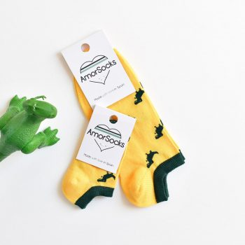amorsocks-calcetines-socks-tobillero-invisible-dinos-dinosaurios-trex-tiranoraurio-amarillo-yellow