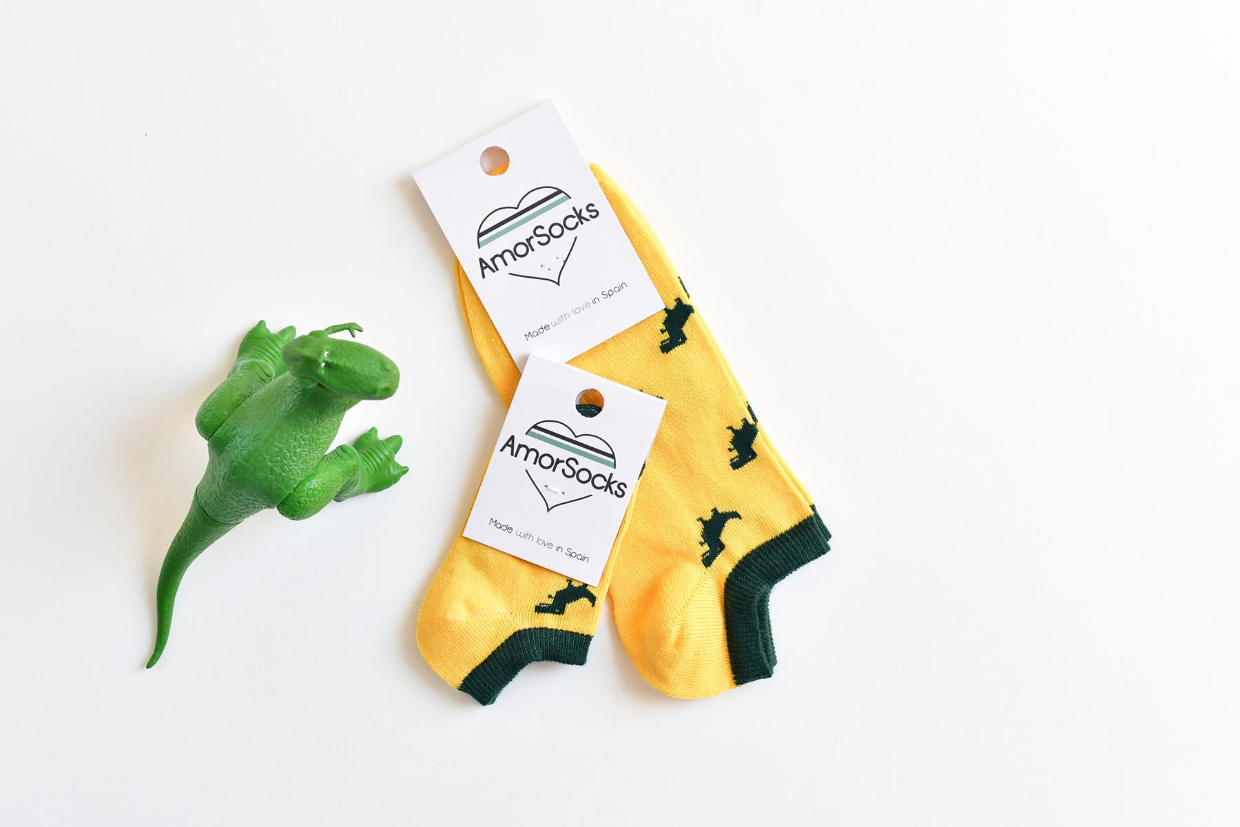 amorsocks-calcetines-socks-tobillero-invisible-dinos-dinosaurios-trex-tiranoraurio-amarillo-yellow