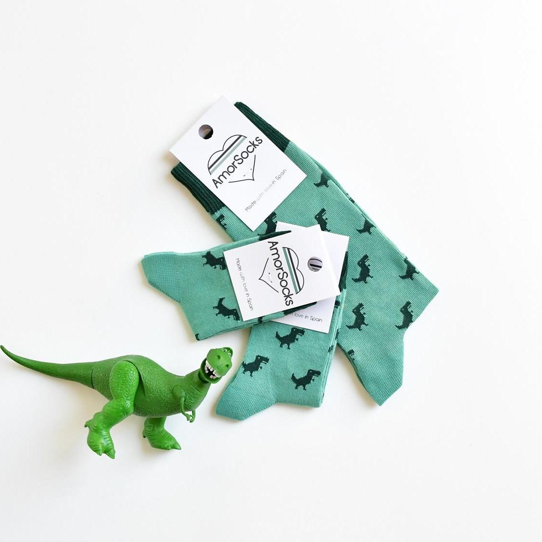 calcetines accesorios niños adulto amorsocks dinosaurios
