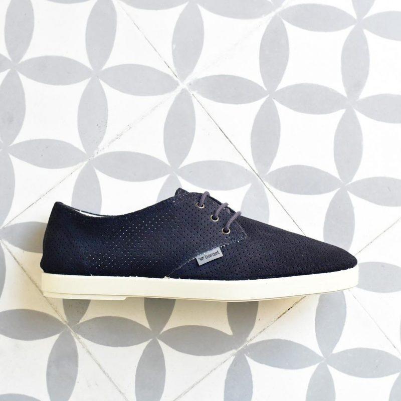 Zapatillas Barqet Dogma Low Piel Vuelta Perforadas Azul Marino Suede Navy Zapatos