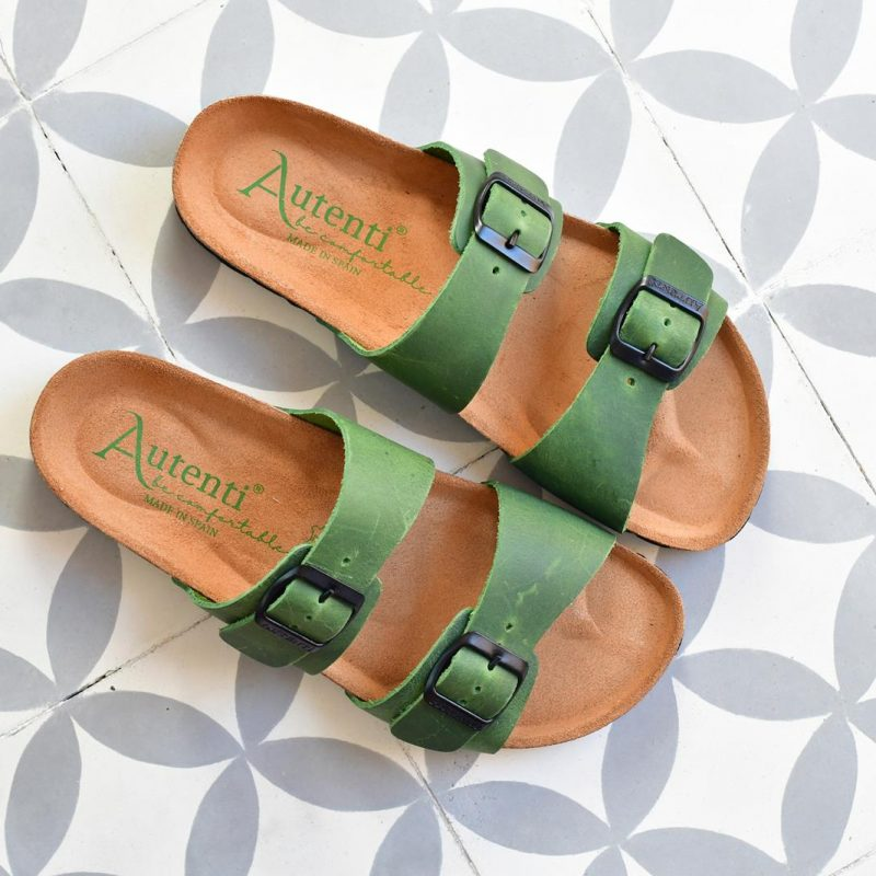 Sandalia Bio Doble Tira Piel Premium Verde