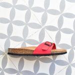 Sandalia Bio Una Tira Piel Premium Roja