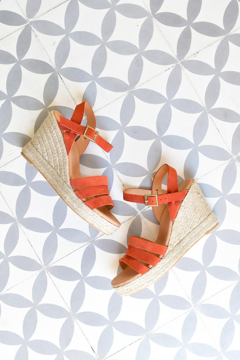 Sandalia Cuña Yute Pölka Shoes Teja 684P