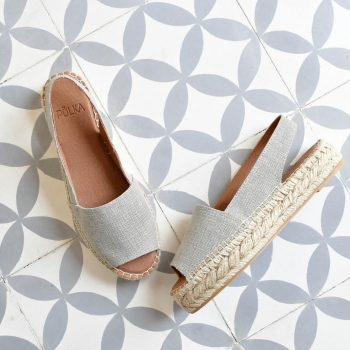 Sandalia Yute Lino Pölka Shoes Laura Gris Plataforma 409p
