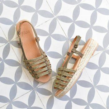 Sandalia Romana Yute Pölka Shoes Juno Kaki