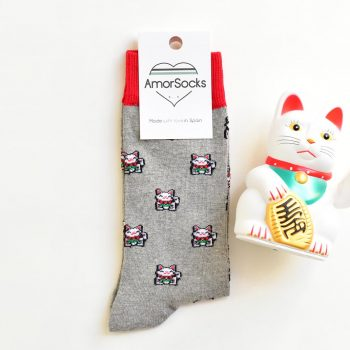 AmorSocks Lucky Cat Grey