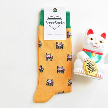 AmorSocks Lucky Cat Mostaza