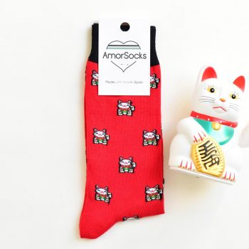 AmorSocks Lucky Cat Red