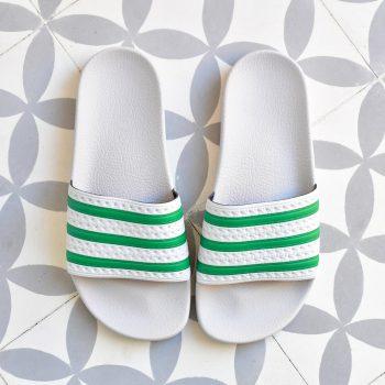 Adidas Adilette Gris Rayas Verdes