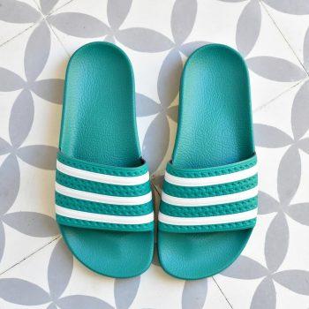 Adidas Adilette Verde Rayas Blancas