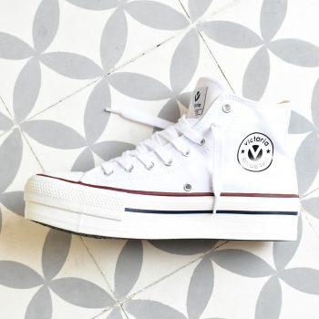 Bota Plataforma Victoria Lona Blanca