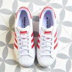 Adidas Superstar Blanco Rayas Rojas