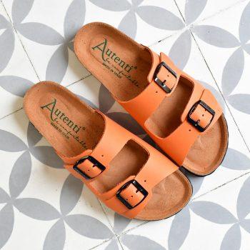 Sandalia Bio Doble Tira Piel Premium Naranja