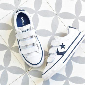 Converse StarPlayer AllStar Piel Velcro Blanco Azul Kids
