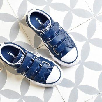 Converse StarPlayer AllStar Piel Azul Blanco Velcro Kids