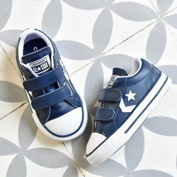 Converse StarPlayer AllStar Piel Azul Blanco Velcro Kids INF